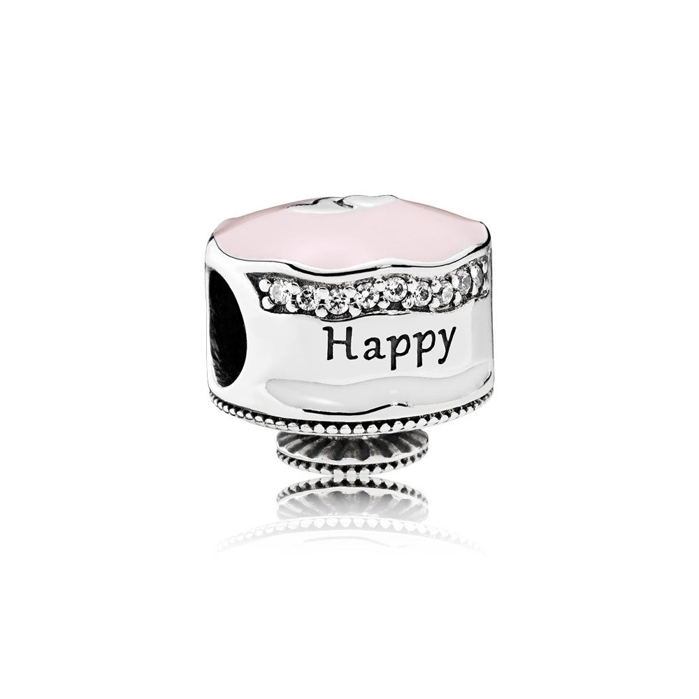 Happy Birthday Cake Charm Mixed Enamel Clear CZ