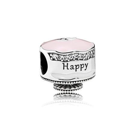 Happy Birthday Cake Charm, Mixed Enamel & Clear CZ