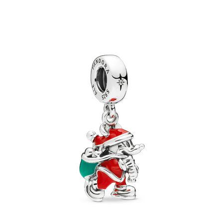 Disney, Santa Mickey & Gift Bag Dangle Charm, Red & Green Enamel