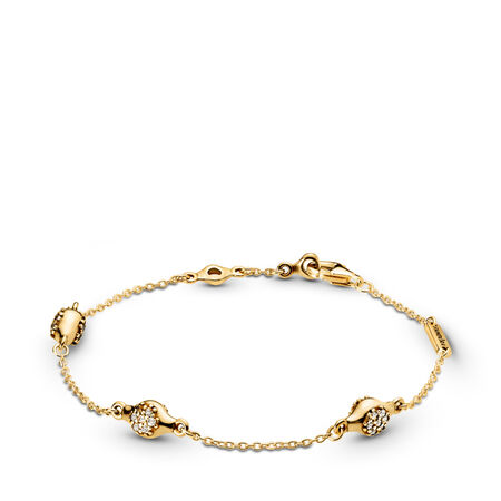 Modern LovePods™ Bracelet, PANDORA Shine™ & Clear CZ, 18ct Gold Plated, Cubic Zirconia - PANDORA - #567354CZ-18