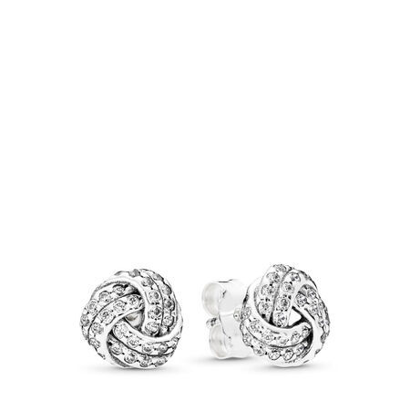 0edb1c627 Sparkling Love Knots Stud Earrings, Clear CZ Sterling silver, Cubic Zirconia