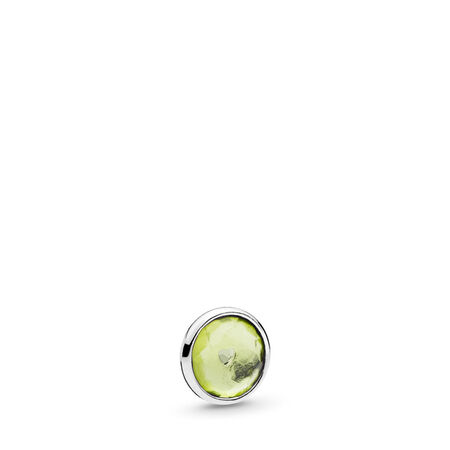 August Droplet Petite Locket Charm, Sterling silver, Peridot - PANDORA - #792175PE