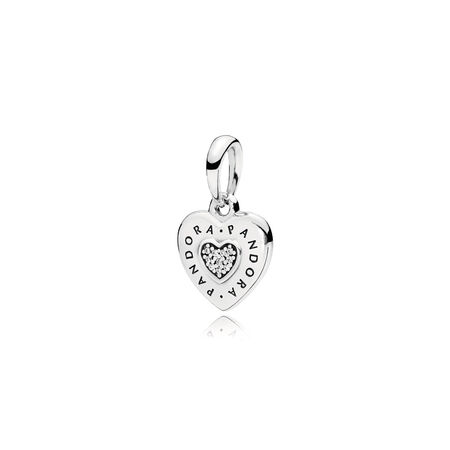 PANDORA Signature Heart Pendant, Clear CZ