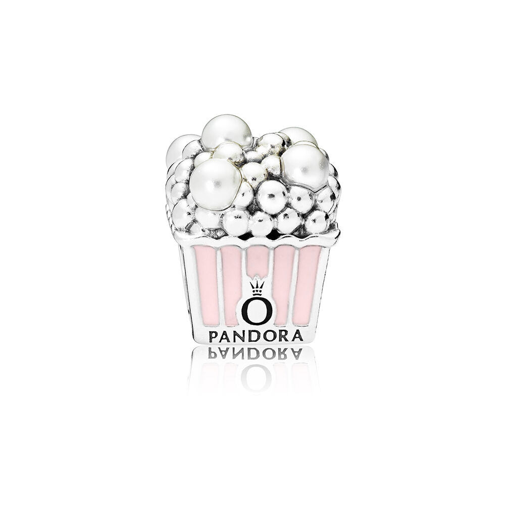 Delicious Popcorn Charm Pale Pink Enamel Amp White Crystal