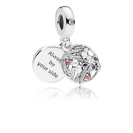 Always By Your Side Dangle Charm, Multi-Colored CZ & Purple Enamel
