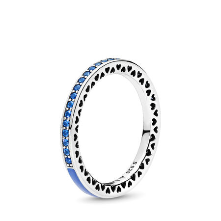 Radiant Hearts of PANDORA Ring, Princess Blue Enamel & Royal Blue Crystals