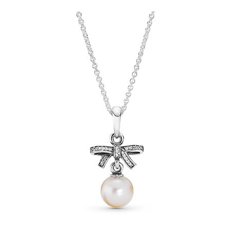 fc1c56276 Delicate Sentiments Pendant Necklace, White Pearl & Clear CZ Sterling silver,  White, Mixed stones