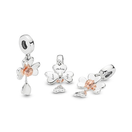 Clover & Ladybird Dangle Charm, PANDORA Rose with sterling silver - PANDORA - #787877