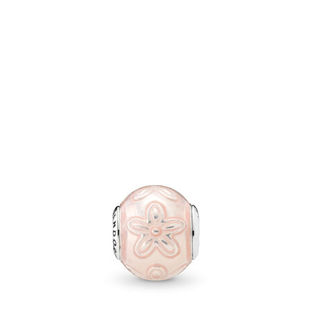 HAPPINESS Charm, Transparent Cream Pink Enamel
