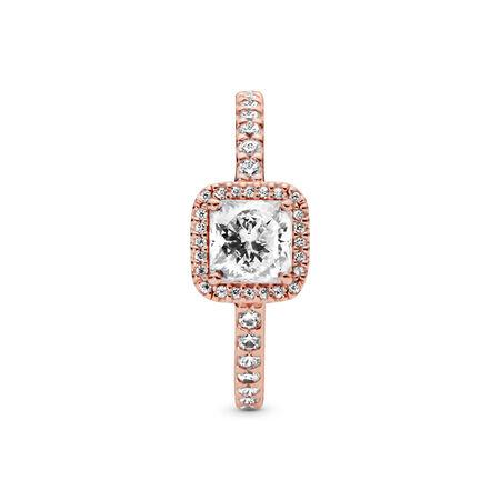 Timeless Elegance Ring, PANDORA Rose™ & Clear CZ, PANDORA Rose, Cubic Zirconia - PANDORA - #180947CZ