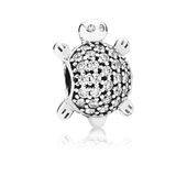 Sea Turtle Charm, Clear CZ