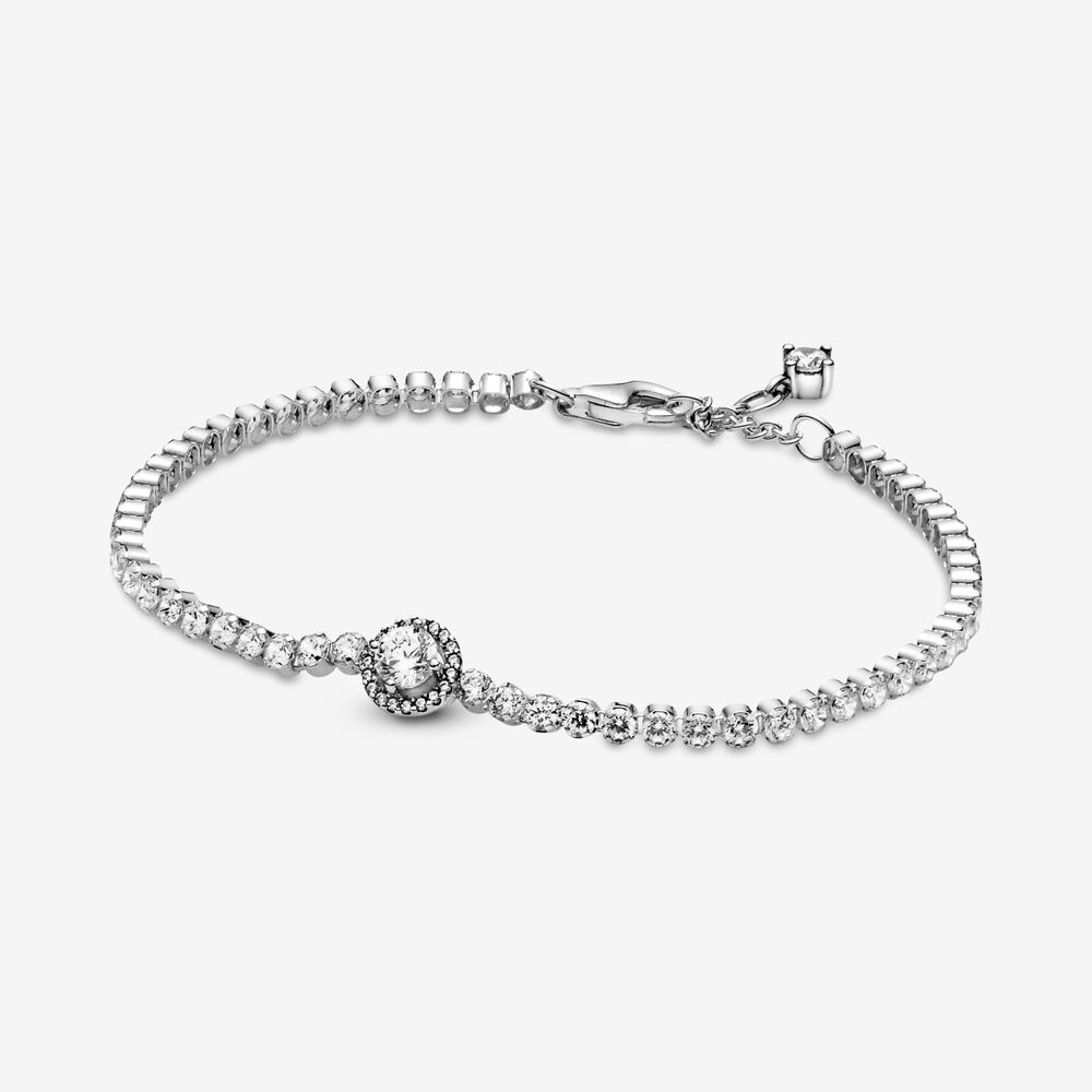 Sparkling Halo Tennis Bracelet Sterling Silver Pandora Us