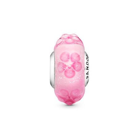 Pink Flower Glass Charm