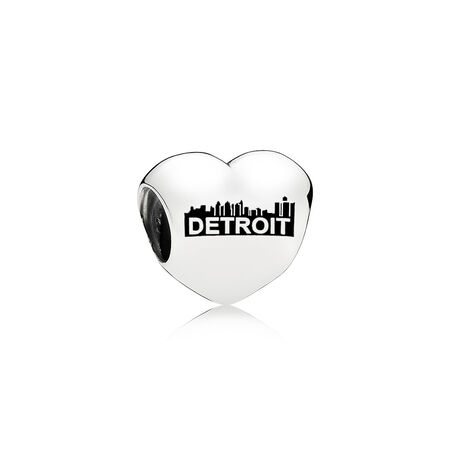 Detriot Motor City Heart Charm, Black Enamel
