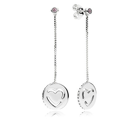 Pure Love Dangle Earrings, Fancy Fuchsia Pink CZ