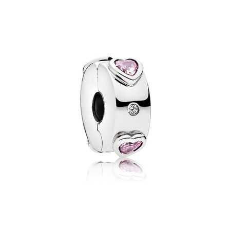 Explosion of Love Clip, Fancy Fuchsia Pink & Clear CZ