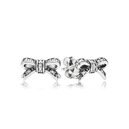 Sparkling Bow Stud Earrings, Clear CZ, Sterling silver, Cubic Zirconia - PANDORA - #290555CZ