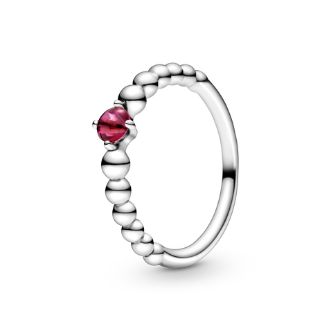July Blazing Red Beaded Ring