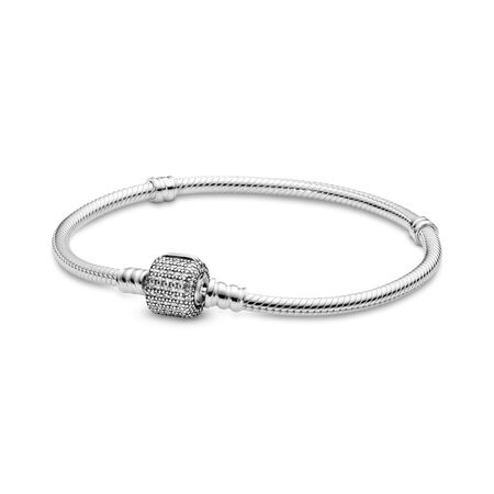 Sterling Silver Bracelet w/ Signature Clasp, Clear CZ, Sterling silver, Cubic Zirconia - PANDORA - #590723CZ