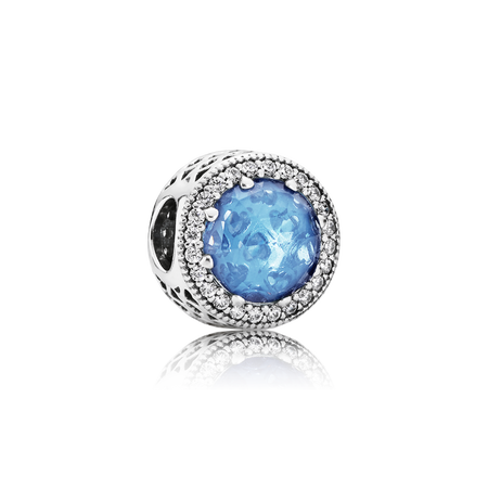 Radiant Hearts Charm, Sky-Blue Crystal & Clear CZ