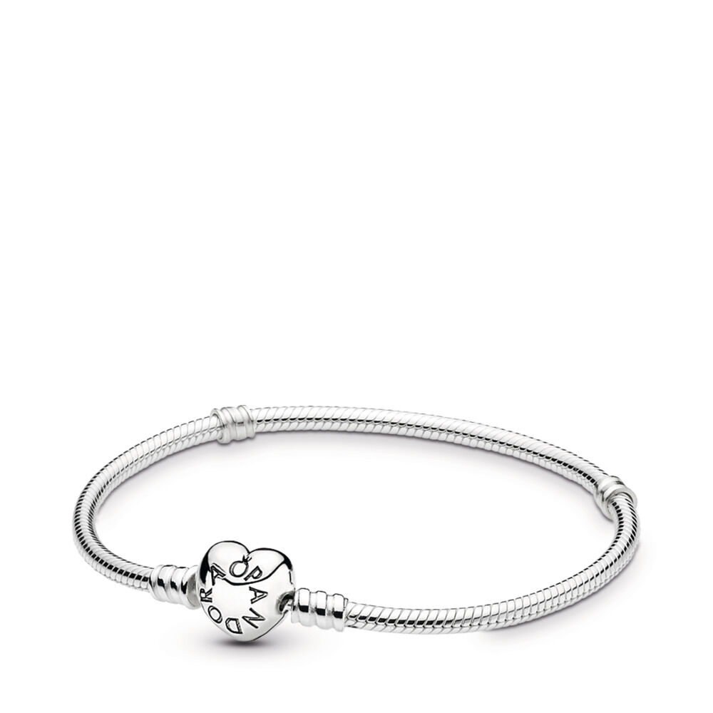 52bb9c19a Moments Heart & Snake Chain Bracelet, Sterling silver - PANDORA - #590719