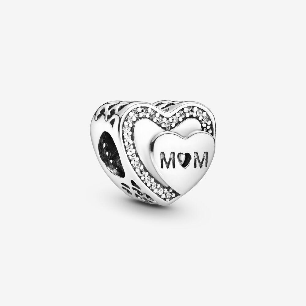 Sparkling Mom Heart Charm | Sterling silver | Pandora US