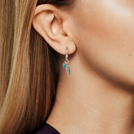 Spiritual Feathers Dangle Earrings, Turquoise Enamel