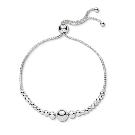 String of Beads Sliding Bracelet, Sterling silver, Silicone - PANDORA - #597749