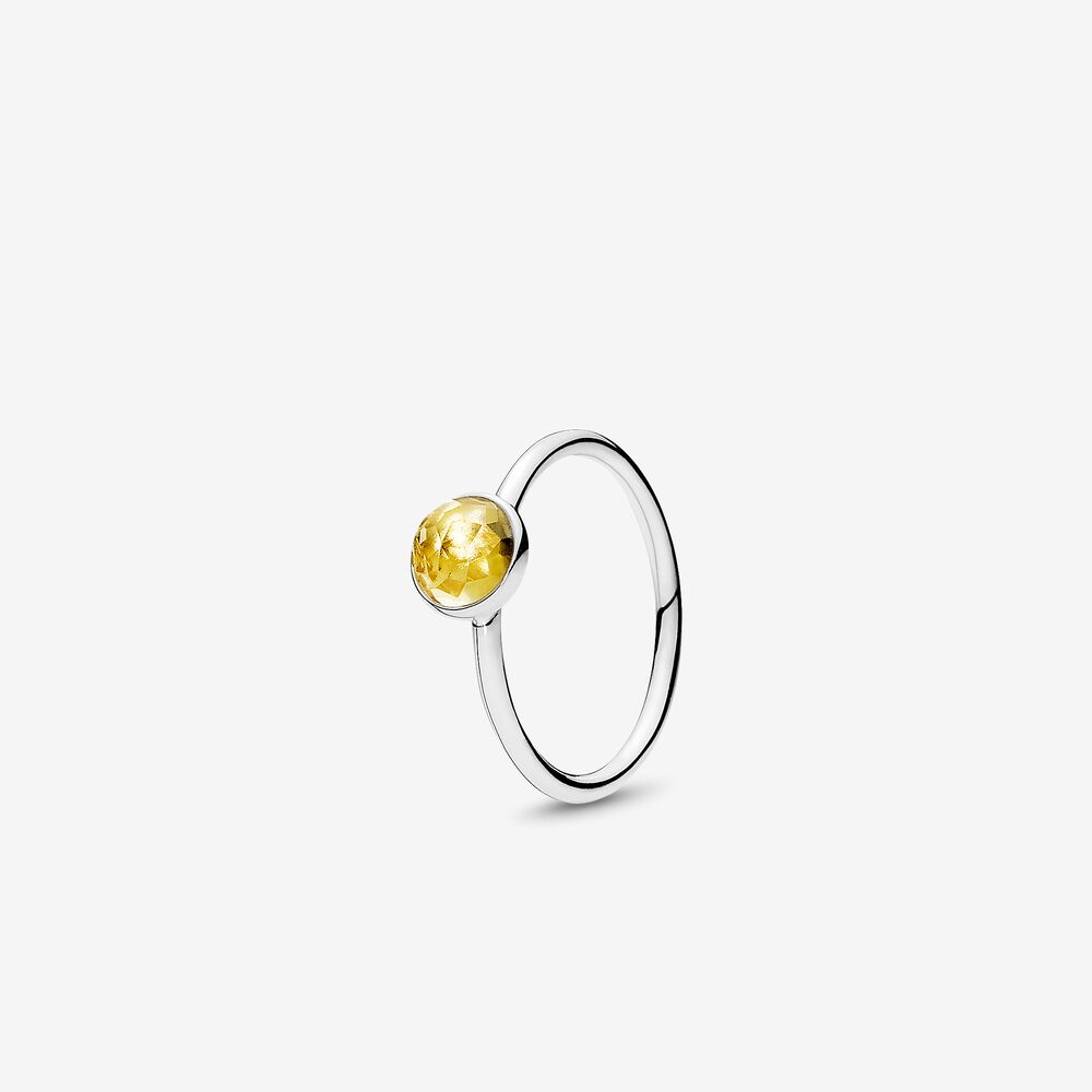 November Droplet Ring Citrine Silver Pandora Us