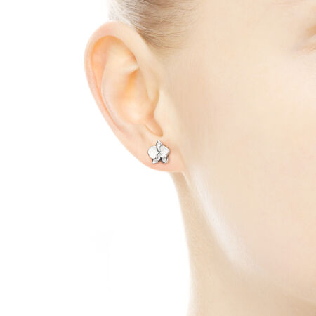 Orchid Stud Earrings, White Enamel & Clear CZ