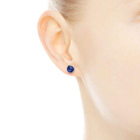 September Droplets Stud Earrings, Synthetic Sapphire, Sterling silver, Blue, Synthetic sapphire - PANDORA - #290738SSA