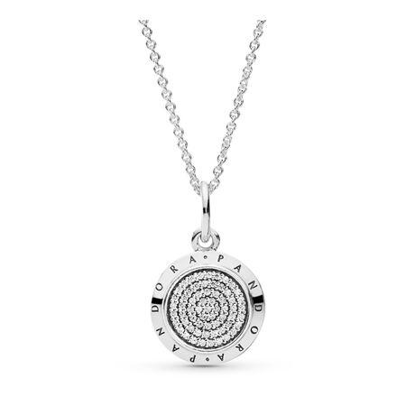 PANDORA Signature Pendant Necklace, Clear CZ, Sterling silver, Cubic Zirconia - PANDORA - #390375CZ