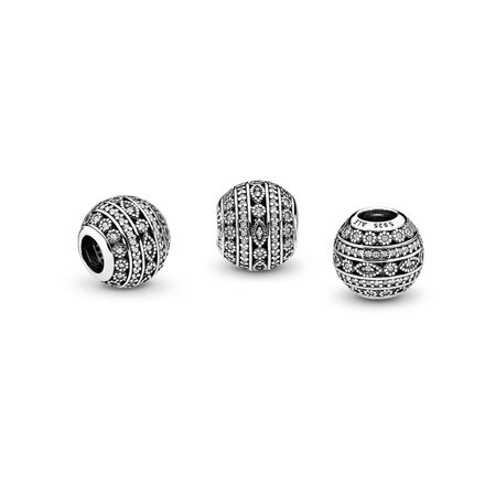 Glittering Shapes Charm, Clear CZ, Sterling silver, Cubic Zirconia - PANDORA - #796243CZ