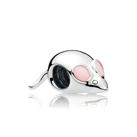 Cute Mouse Charm, Pink Enamel