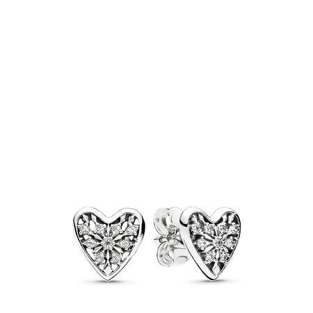 Hearts of Winter Stud Earrings, Clear CZ, Sterling silver, Cubic Zirconia - PANDORA - #296368CZ