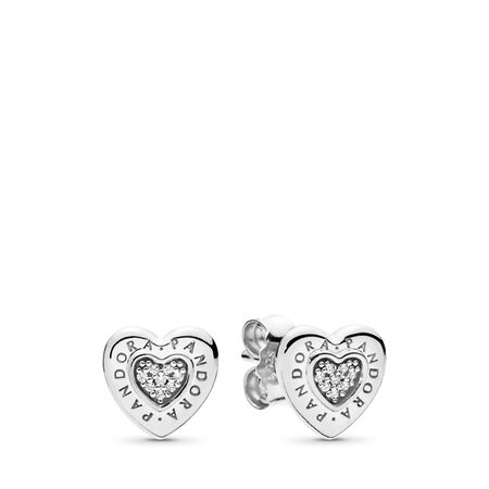 PANDORA Signature Heart Stud Earrings, Clear CZ, Sterling silver, Cubic Zirconia - PANDORA - #297382CZ