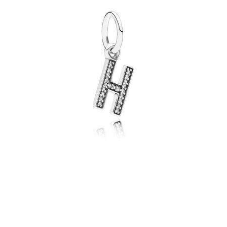 Letter H Dangle Charm, Clear CZ