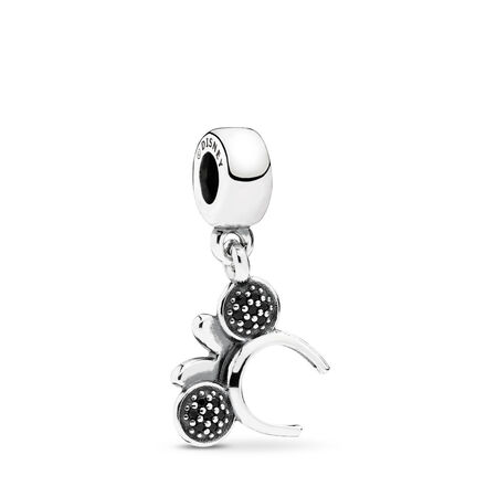 Disney, Minnie Headband Dangle Charm, Black & Red CZ, Sterling silver, Mixed stones - PANDORA - #791562NCK