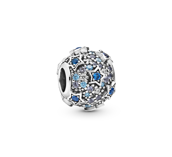 Star sterling silver charm with sea blue, moonlight blue and royal blue crystal, fancy blue and clear CZ