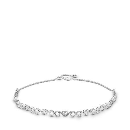 Heart Swirls Choker Necklace, Clear CZ, Sterling silver, Silicone, Cubic Zirconia - PANDORA - #397129CZ-38