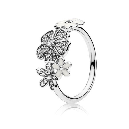 c3a356651 Shimmering Bouquet Ring, White Enamel & Clear CZ