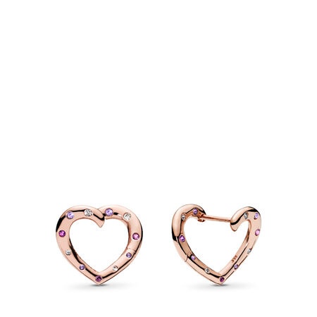 Bright Hearts Hoop Earrings, PANDORA Rose™, Royal Purple & Lilac Crystals & Clear CZ, PANDORA Rose, Purple, Mixed stones - PANDORA - #287231NRPMX