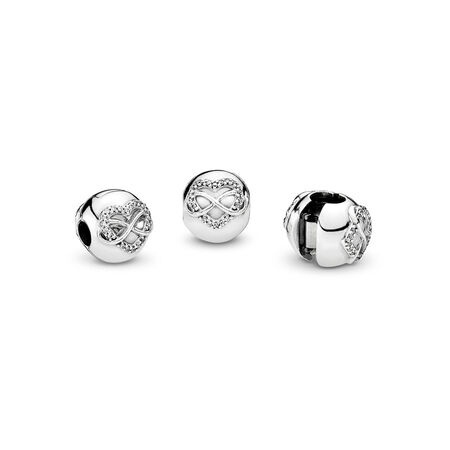 Infinity Heart Clip, Clear CZ, Sterling silver, Cubic Zirconia - PANDORA - #791947CZ