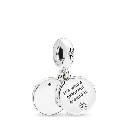 Perfect Christmas Dangle Charm, Clear CZ & White Enamel