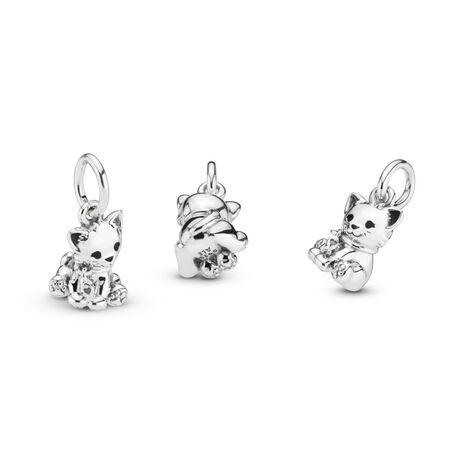 Sweet Cat Dangle Charm, Sterling silver, Enamel, Black - PANDORA - #798011EN16