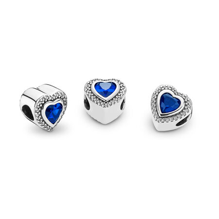 Sparkling Love Charm, Clear CZ & Blue Crystal