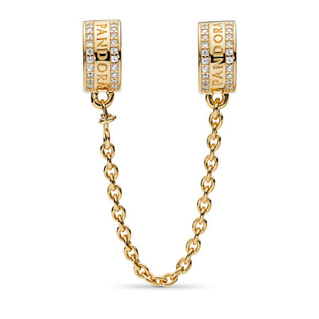 PANDORA Logo Safety Chain, PANDORA Shine™, 18ct Gold Plated, Silicone, Cubic Zirconia - PANDORA - #767027CZ