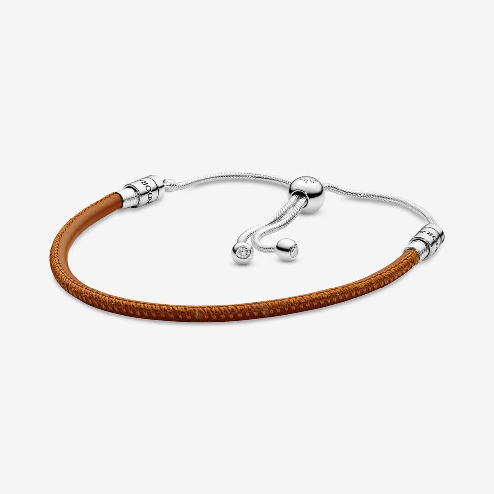 Pandora Moments Golden Tan Leather Slider Bracelet