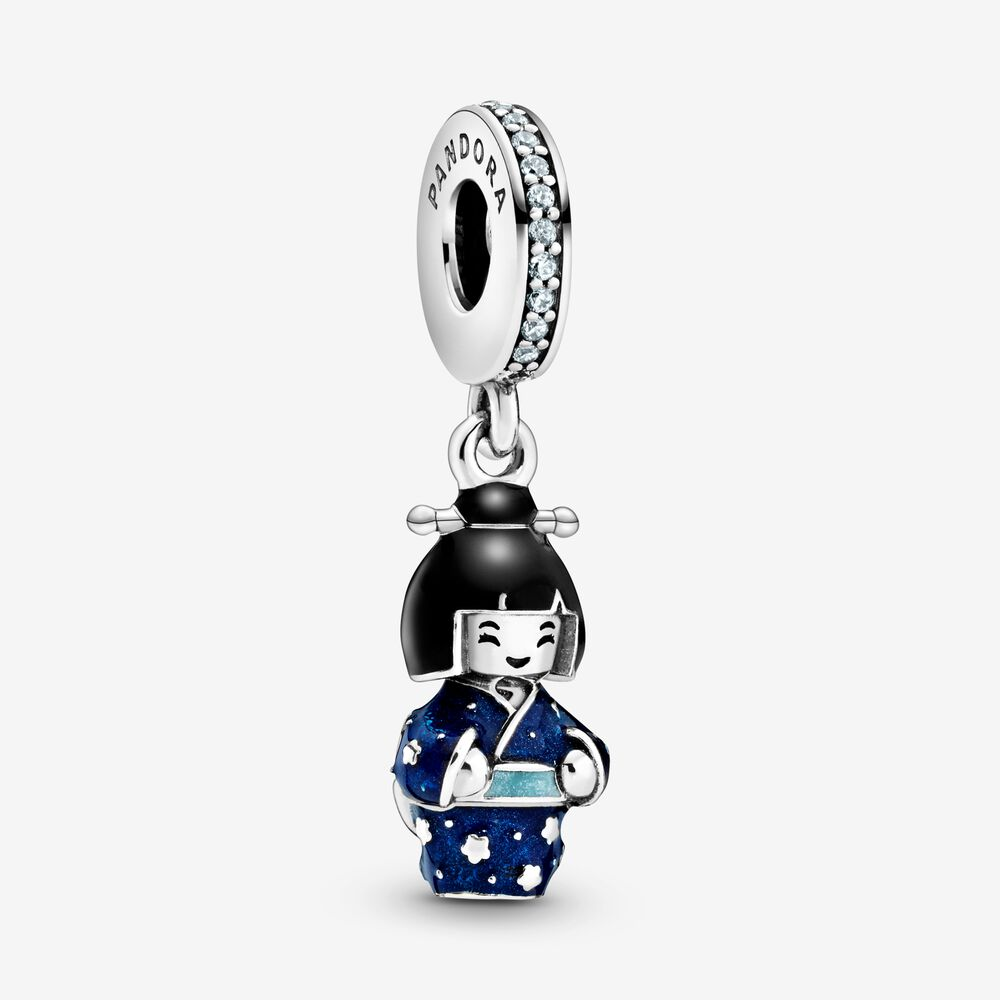 Japanese Doll in Blue Kimono Dangle Charm