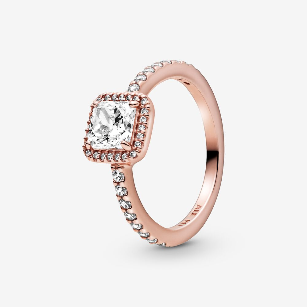 Square Sparkle Halo Ring   Rose gold plated   Pandora US